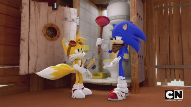 CARTOON NETWORK SONIC BOOM HEADER - Tails & Sonic With Plunger