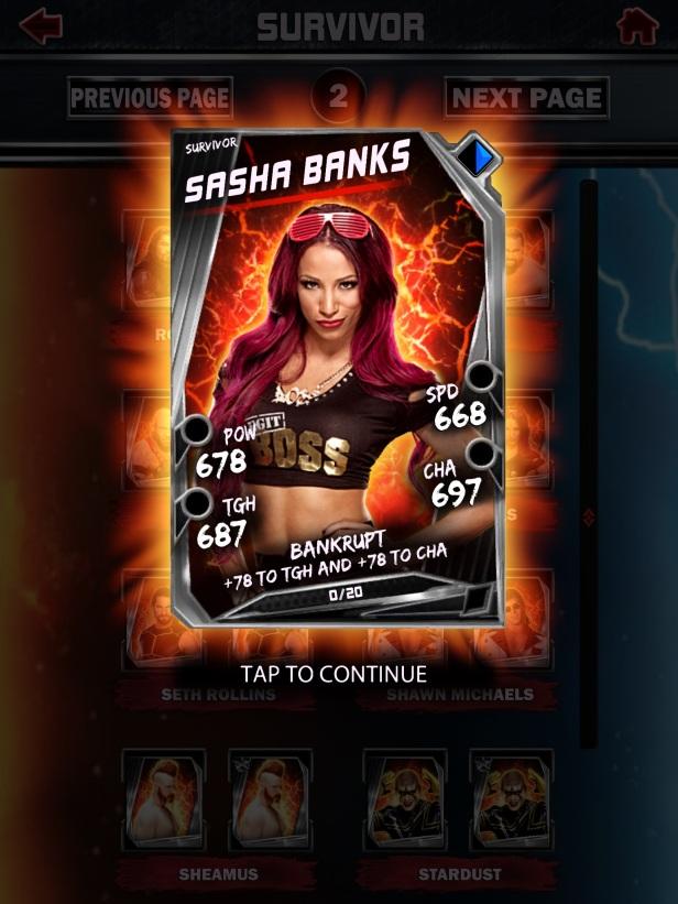WWE Supercard Season 2 Survivor & PCC Update Cards_Sasha1