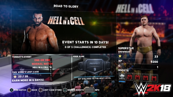 ROAD TO GLORY (MAIN EVENT SCREEN EXAMPLE)