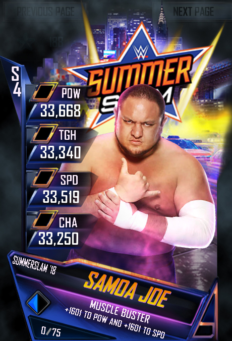 WWE SuperCard SummerSlam 18 Samoa Joe