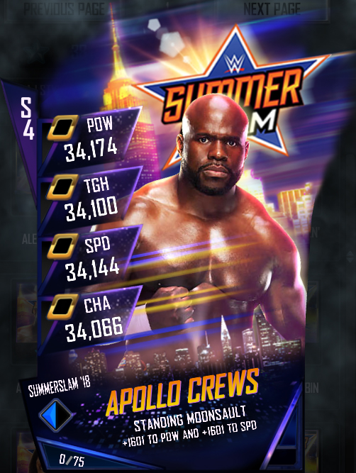 WWE SuperCard SS18 Fusion Apollo Crews